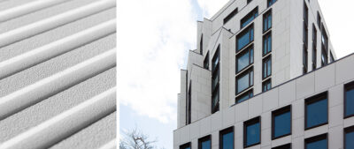 329 Broadway (Brooklyn, NY) features 3,200 ft² (2972m²) of custom ribbed TAKTL Architectural UHPC rainscreen cladding.