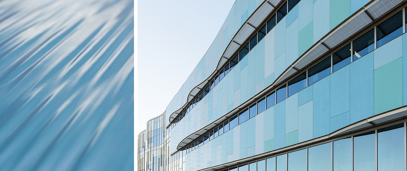 University of Wisconsin School of Freshwater Sciences (Milwaukee, WI0 features 7,500 ft² (697m²) of custom cast TAKTL Architectural UHPC rainscreen cladding panels in six shades of blue.