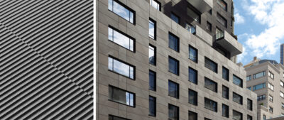 30 Warren (New York, NY) features 17,630 ft² (1,637m²) of custom ribbed TAKTL Architectural UHPC cladding and interior wall panels.